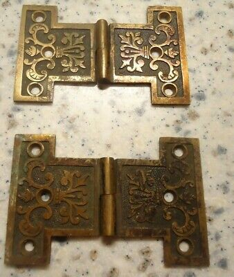 pair of (2) -3 1/2 inch X 2 3/16 vintage old antique brass hinge