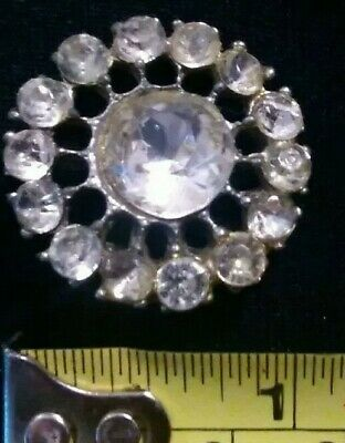 """Large Antique Vintage Sewing Button Rhinestone & Pot Metal 1"""" Early 1900's"""