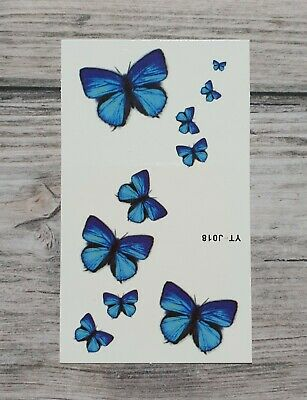 *UK SELLER* Blue Butterfly TEMPORARY TATTOO Waterproof Body Art /-a607-/