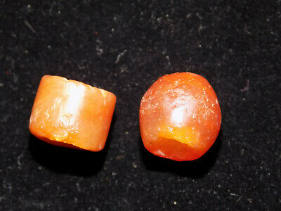Pre-Columbian Pair of Round Stone Agate Beads (2)