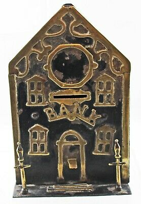 RARE ANTIQUE AMERICAN METAL and BRASS BANK
