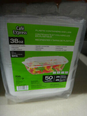 Cafe Express Clear Plastic Containers 25CT Containers and Lids