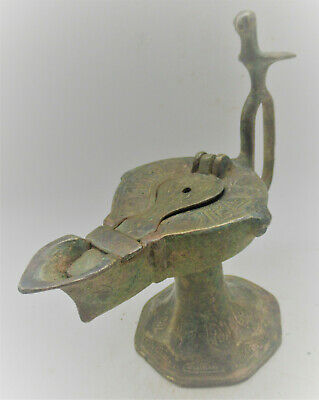 Circa 1200-1300Ad Ancient Islamic Bronze Oil Lamp With Bird Terminal Seljuck