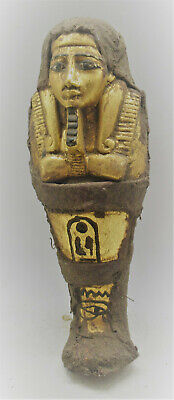 Large & Impressive Ancient Egyptian Gold Gilded Ushabti Wrapped In Coptic Cloth