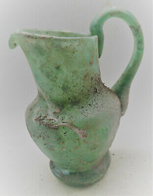 Museum Quality Ancient Roman Green Glass Vessel With Handle Circa 200-300Ad
