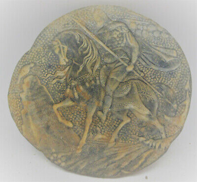 Late Roman Early Byzantine Lead Plaque With Depiction Of Gladiator Riding Horse