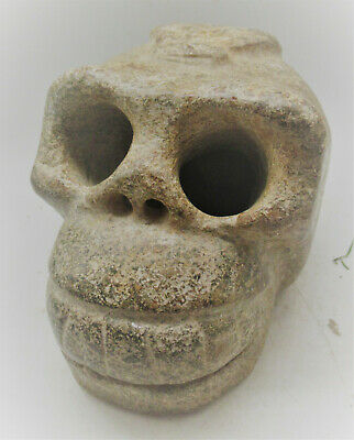 Rare Ancient Near Eastern Stone Carved Sculture Of A Skull Very Interesting