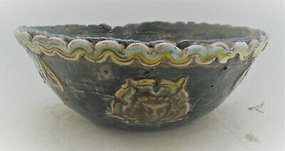 Beautiful Ancient Phoenician Mosaic Glass Bowl With Gold Gilt Plates Inset