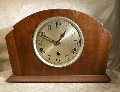 Vintage Art Deco 3 Train Pendulum Chiming Mantle Clock - Spares /Repairs 13.25""