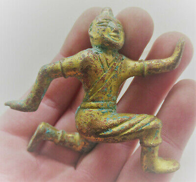 Unresearched Ancient Near Eastern Bronze Statue With Gold Gilt Very Interesting