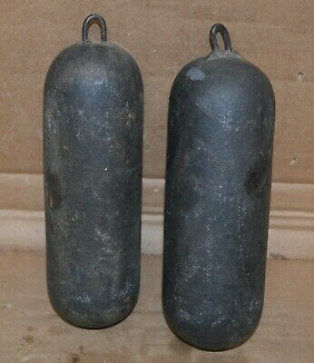 Pair of Antique  French Morbier Wag on Wall Cast Iron Clock Weights