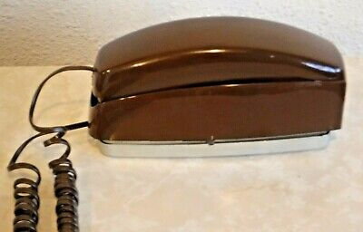Bell System Brown Retro Trimline Square Push Button Telephone Wired & Working