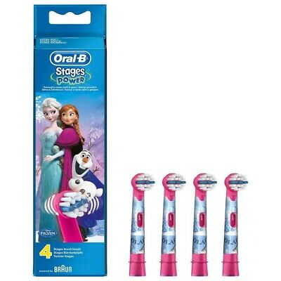 1❌4 Pack Oral-B Stages Power Disney *Frozen* Replacement Kids Toothbrush Heads