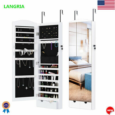 Wall Door Mounted Jewelry Armoire W/ Mirror LED Lights Cabinet Organizer Storage