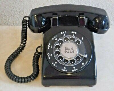 Bell System 1974 Black 500 Series Desk Set Rotary Dial Telephone Wired & Working