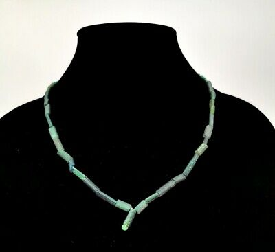 Rare Roman Ca.200 Ad Green Glass Beaded Necklace - Wearable - R135
