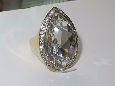 Pear cocktail ring gold ladies cz 20ct 18kt cubic zirconia statement big new 905