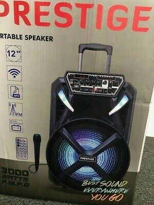 Party Speaker Bluetooth Rechargeable 12 inch Woofer Wired Mic LED Light Karaoke