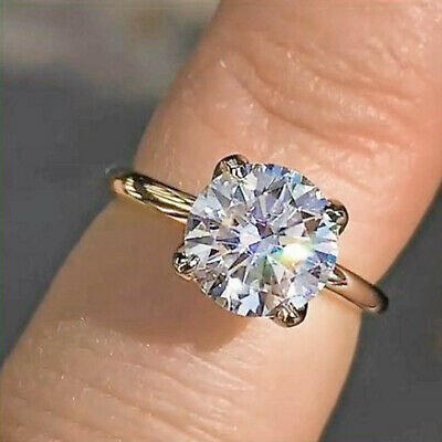 2.96ct Round Solitaire Diamond Engagement Ring Solid 14k Yellow Gold Anniversary