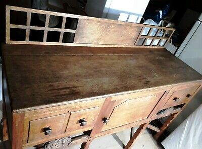 WARING & GILLOW ANTIQUE, ARTS & CRAFTS SOLID OAK SIDEBOARD, ORIGINAL EARLY C20th