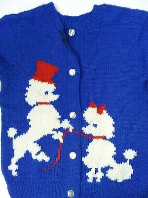 Vintage Hand Knit POODLES Cardigan Sweater Novelty Pearl Buttons Dog