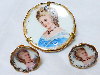 Vintage Limoges Porcelain Hand Painted Lady Earring Brooch Pin Set, Signed
