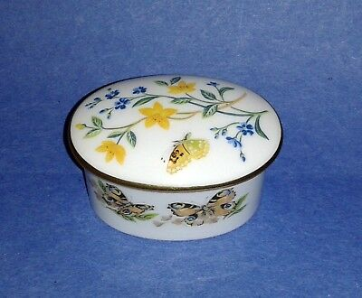 Vintage COVERSWALL Bone China Trinket Box ~ Butterflies Flower ~ Made in England