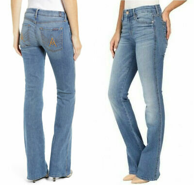 29 Tailorless Pintuck Trouser Jeans Sweet Light Indigo NWT 7 For All Mankind 27