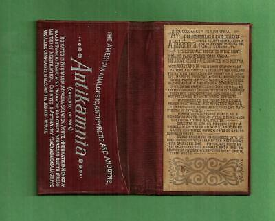 Vintage Leather Card Holder ANTIKAMNIA PAIN RELIEVER MORPHINE Quack Medicine