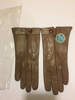 VTG Edelweiss Short Brown Leather Button Close Unlined Gloves W/ Tag