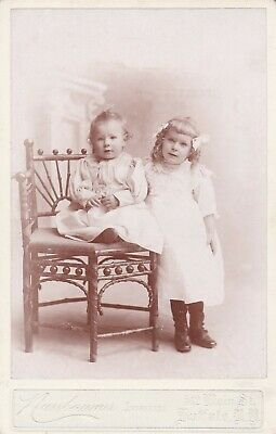 Cabinet Card Great Ad Buffalo, Ny. Sisters,Curly Blonde Hair,Bows,Pearl Necklace