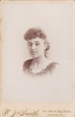 Cabinet Card Oakland,Cal W. J. Smith Photographer Lady Curly Bangs,Earrings,1893