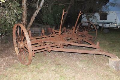 Plough old steel wheel. Make a very old garden ornament.Shepparton vic area .