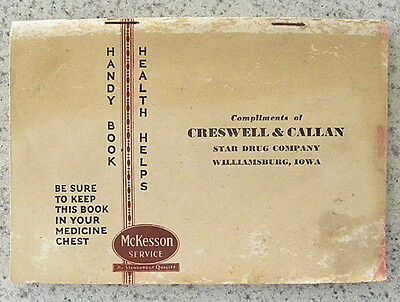 1931 Creswell & Callan Star Drug,Williamsburg,Iowa IA McKesson First Aid Booklet