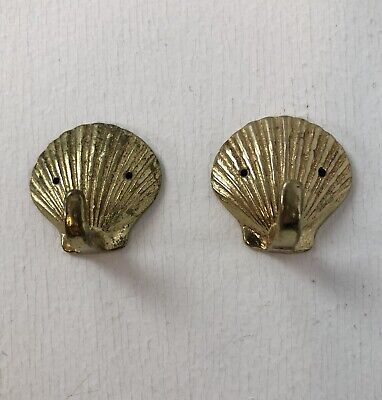 "Vtg 2 Solid Small Mini 1.5"" Brass Seashell Wall Mount Hooks"