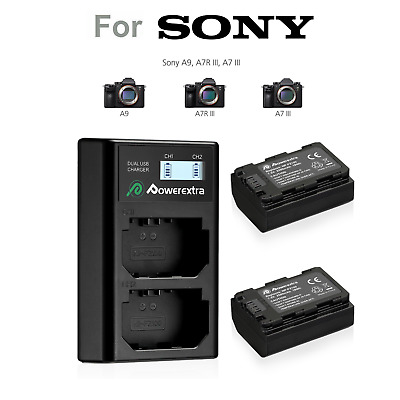 2 Pack NP-FZ100  Camera Battery and Dual LCD Battery Charger for Sony A9 A7RIII
