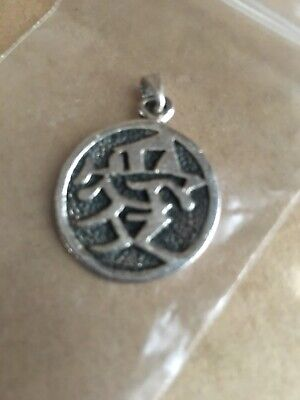 Round Solid 925 Sterling Silver Chinese Love Symbol Pendant Heavy Vintage Retro