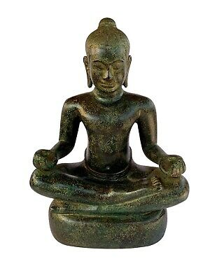 Antique Khmer Style Seated Bronze Meditation Jayavarman VII Statue - 30cm/12""