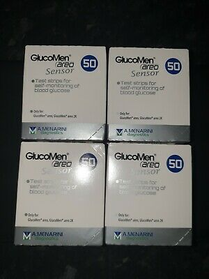 4 BOXES Glucomen AREO Glucose Diabetes Test Strips 50 (200 In Total)