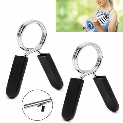 2X 25-30mm Barbell Gym Weight Bar Dumbbell Lock Clamp Spring Collar Clips Strong