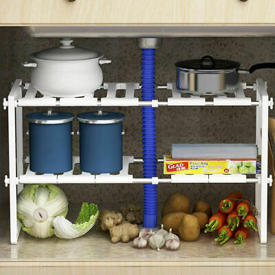 Under Kitchen Sink Shelf Storage Bathroom Cupboard Rack Cabinet Organiser Holder