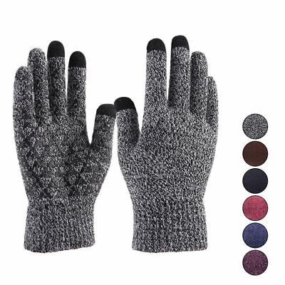 Unisex Winter Knit Gloves Touchscreen Warm Thermal Soft Lining Elastic Cuff Text