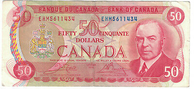 Bank of Canada 50 Dollar Banknote issued in 1975.