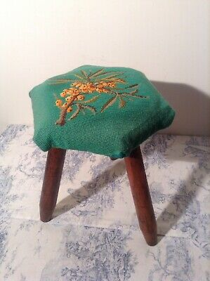 French Wooden Three Legged Milking Stool, Tapestry Top