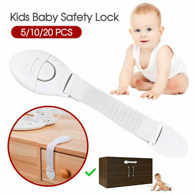 20PCS Children Kids Baby Safety Lock For Door Drawers Cupboard Cabinet Adhesive