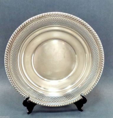 "9 1/8"" NEWPORT PLATE STLG SILVER  5.6 oz + 15529 RETICULATED PIERCED & GRADOONED"
