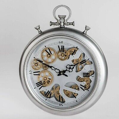 Wall Clock Move with Gears D.40cm Antique Silver Metal Formano