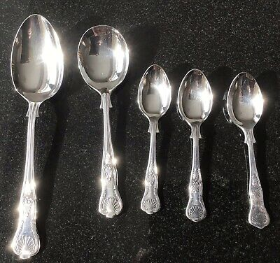 5 Various Sized Vintage Silver Plated Kings Pattern Spoons Sheffield Epns
