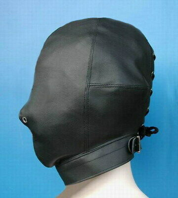 Soft PU Leather Full covered Hood Head Mask Headgear Bondage nose holes roleplay