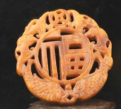 Chinese old natural jade hand-carved double fish pendant 2.6 inch